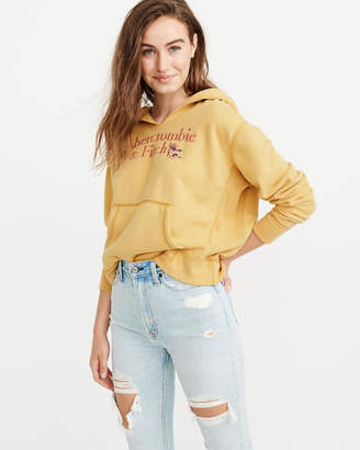 Abercrombie & Fitch Floral Embroidered Logo Hoodie