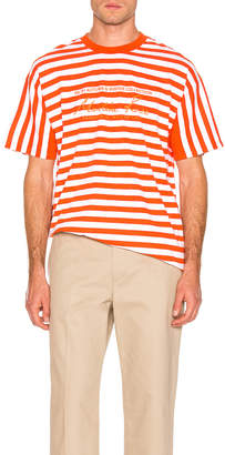 Martine Rose Oversized Stripe Tee in Orange & White | FWRD