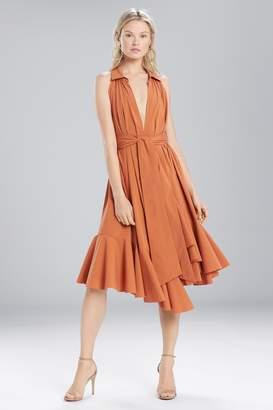 Natori Josie Cotton Shirting Halter Dress