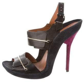 Givenchy Suede & Leather Slingback Sandals