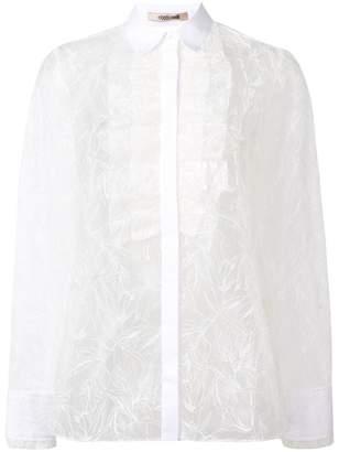 Roberto Cavalli ruffle front lace shirt