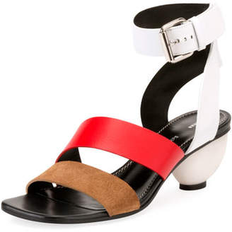 Proenza Schouler Colorblock Suede and Leather Ball-Heel Sandals
