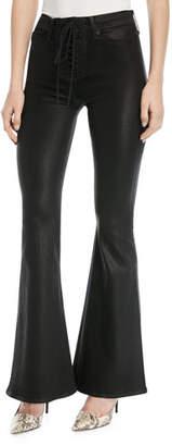 Hudson Bullocks High-Rise Lace-Up Flared-Leg Jeans