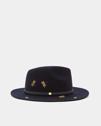 Ted Baker DRAGONN Dragonfly embellished fedora hat