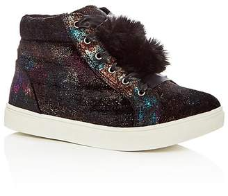 Steve Madden Girls' Jbrielle Faux-Fur High Top Sneakers - Little Kid, Big Kid