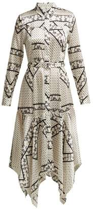 Ganni Blakely Scarf Print Silk Blend Dress - Womens - White