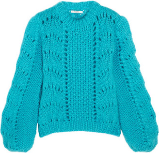 GANNI - Julliard Mohair And Wool-blend Sweater - Bright blue $435 thestylecure.com