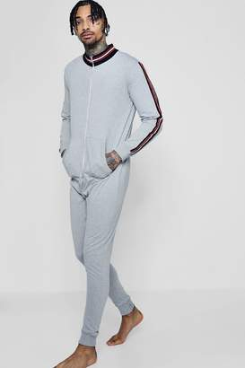 boohoo Funnel Neck Onesie With Sports Taping