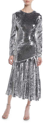 Racil Long-Sleeve Jewel-Neck Ankle-Length Sequin Evening Gown