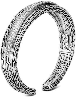 John Hardy Sterling Silver Classic Chain Pavé Diamond Small Kick Cuff - 100% Exclusive