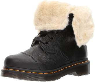 Dr. Martens Women's Aimilita FL Black Ankle Boot, Tan Grizzly