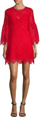 BCBGMAXAZRIA Women's Lace A-Line Bell-Sleeve Dress