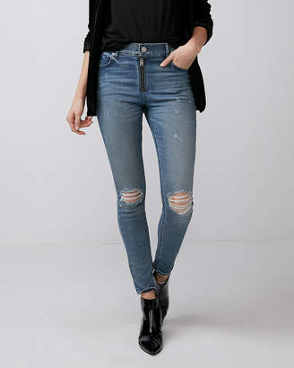 Express High Waisted Exposed Zipper Ankle Jean Leggings