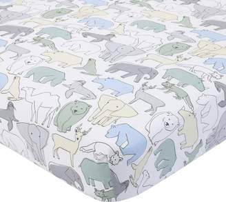 DwellStudio Dwell Studio Caravan Animal Print Fitted Crib Sheet, Aqua/Gray/Green/Yellow