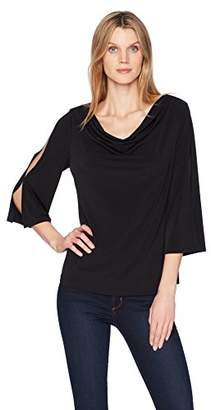 Lark & Ro Women's Three Quarter Sleeve Cowlneck Top
