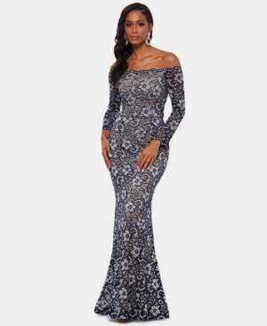 Xscape Evenings Off-The-Shoulder Two-Tone Lace Gown