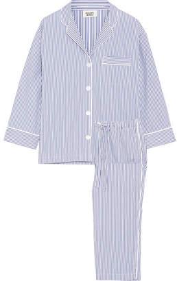 Sleepy Jones - Marina Striped Cotton Pajama Set - Light blue