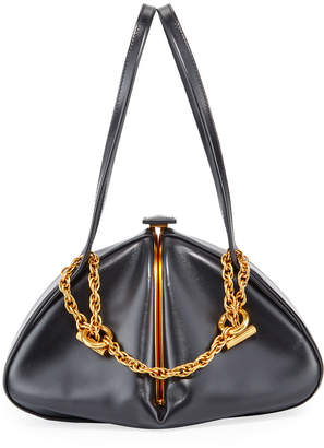 Rodo Framed Leather Chain Top Handle Bag