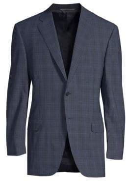 Canali Classic-Fit Windowpane Wool Suit Jacket