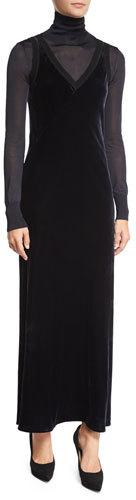 DKNY Velour Ribbed-Trim Maxi Slip Dress, Navy