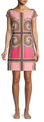 Vince Camuto Patterned Short-Sleeve Shift Dress