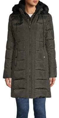 French Connection Quilted Faux Fur-Trimmed Coat