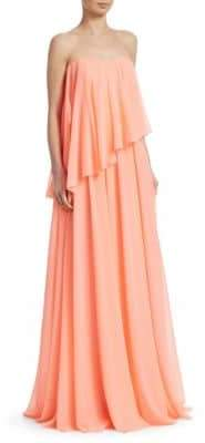 Badgley Mischka Strapless Overlay Gown