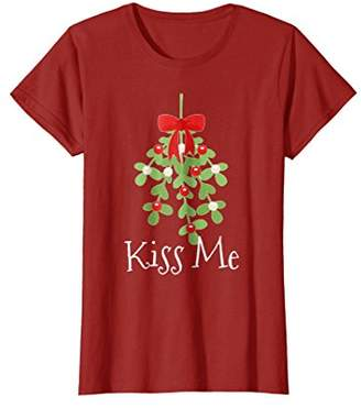 Kiss Me Mistletoe Funny Christmas Holiday Holly Shirt