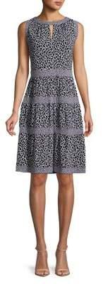 MICHAEL Michael Kors Leopard Print Fit-and-Flare Dress