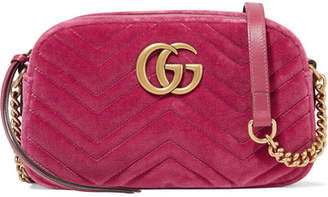 Gucci Gg Marmont Camera Mini Leather-trimmed Quilted Velvet Shoulder Bag - Pink