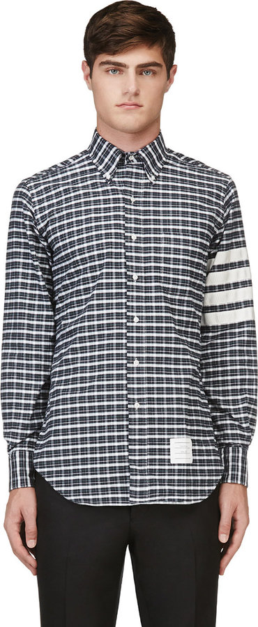 Thom Browne White & Navy Plaid Flannel Shirt
