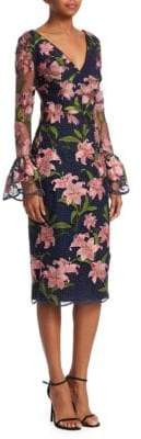 David Meister Floral Bell-Sleeve Dress