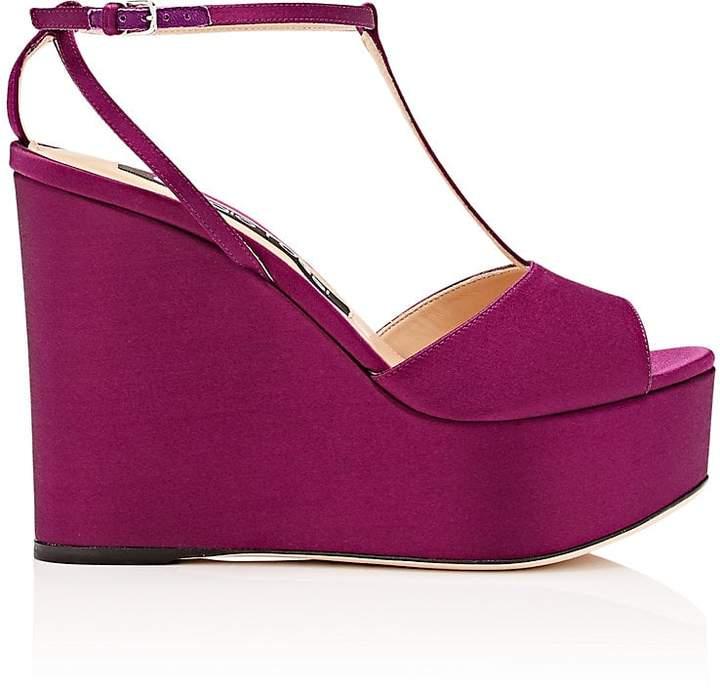 Sergio Rossi Women's Satin Platform-Wedge Sandals