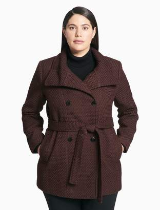 Calvin Klein plus size textured belted peacoat