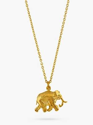 Alex Monroe 22ct Gold Plated Sterling Silver Elephant Pendant Necklace, Gold