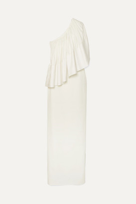 SOLACE London Lison One-shoulder Stretch-cady Gown - Ivory