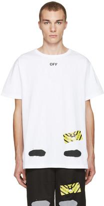 Off-White White Diagonal Spray T-Shirt $270 thestylecure.com