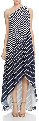 Halston One-Shoulder Striped Gown
