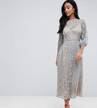 Little Mistress Petite All Over Lace Maxi Dress With Balloon Sleeve Detail