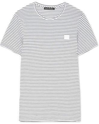 Acne Studios Nele Face Appliquéd Striped Cotton-jersey T-shirt - White