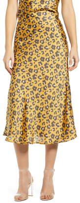 4SI3NNA the Label Leopard Print Satin Midi Skirt