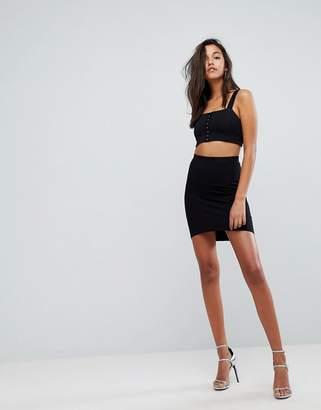 Asos DESIGN mini skirt with curved hem
