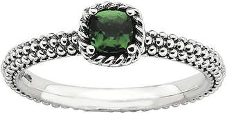 JCPenney FINE JEWELRY Personally Stackable Square Lab-Created Emerald Ring