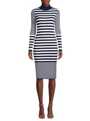 MICHAEL Michael Kors Striped Mockneck Bodycon Dress