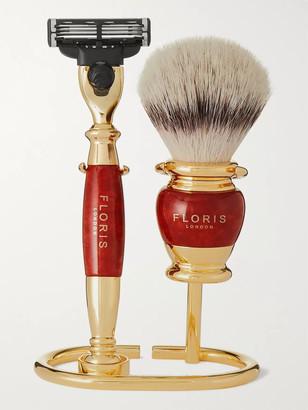 Floris London Three-Piece Gold-Plated And Briarwood Shaving Set