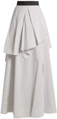 Brunello Cucinelli Tiered pinstriped cotton-poplin skirt