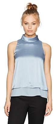 Ellen Tracy Women's Petite Size Double Layer High Neck Shell