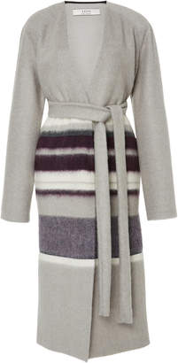 Yeon M'O Exclusive Clio Striped Wool-Blend Coat