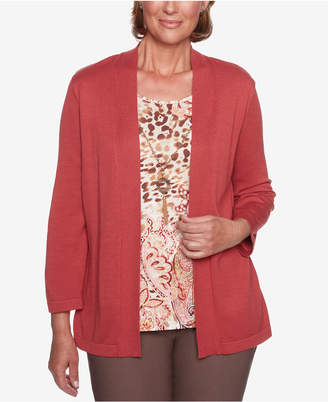 Alfred Dunner Petite Sunset Canyon Layered-Look Removable-Necklace Sweater