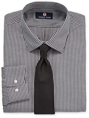 Thomas Laboratories STONE Stone Shirt And Tie Set Big And Tall Mens Point Collar Long Sleeve Shirt + Tie Set